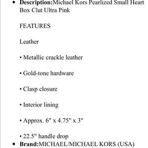 f99efd1c2529 Michael Kors Bags - Michael kors pearlized small heart box clutch